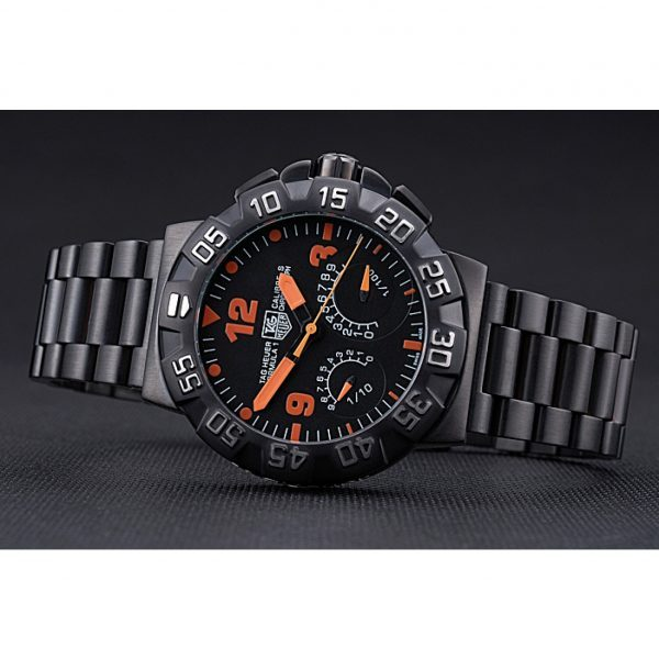 Tag Heuer Formula One Calibre S Black Dial Orange Numerals Ion Plated Stainless Steel Bracelet 622300 Replica Tag Formula 1 Review